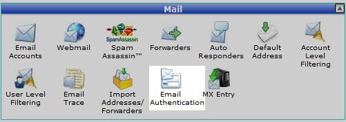 گذینه Email Authentication در سی پنل