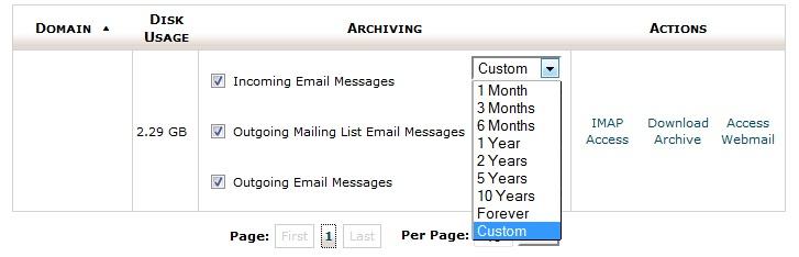 تنظیم زمان آرشیو نمودن ایمیلها