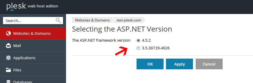 change ASP.NET version in n plesk