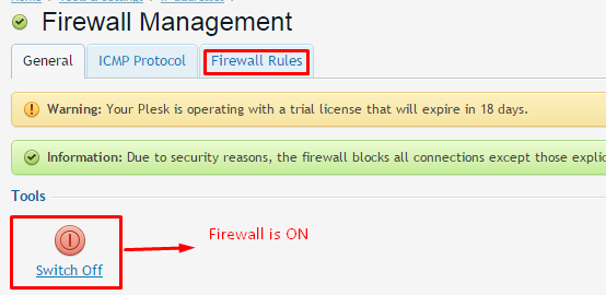 firewall rule in plesk