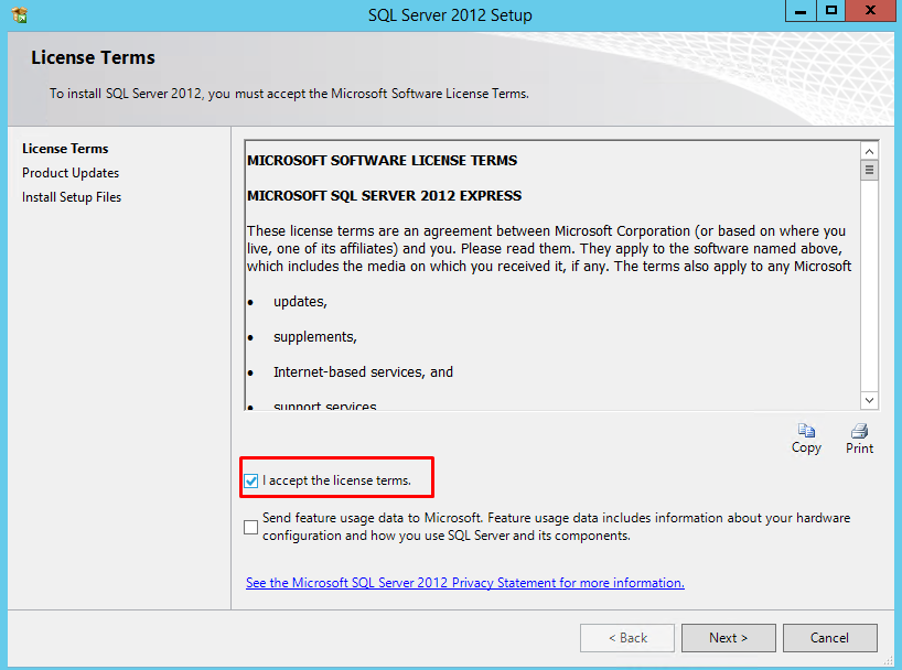 install sql server 2012