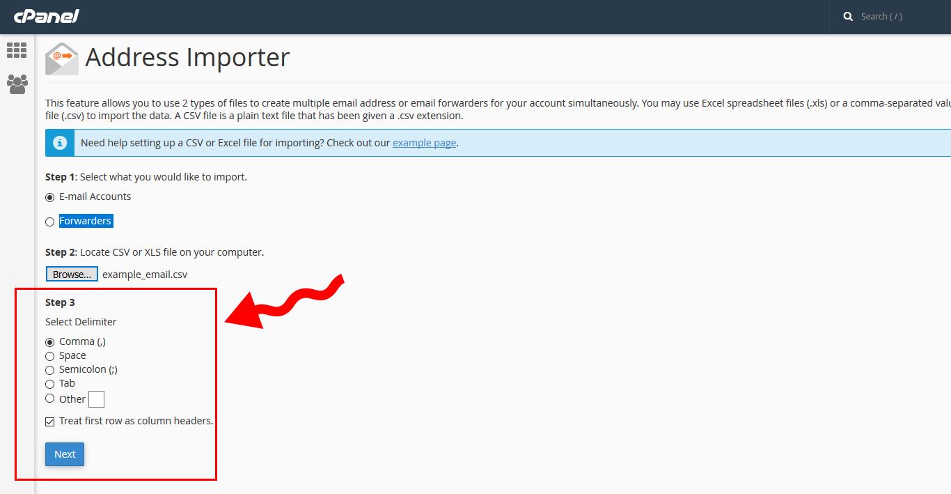 address importer 05 - افزودن لیستی ایمیل آدرس ها در سی پنل (Import)