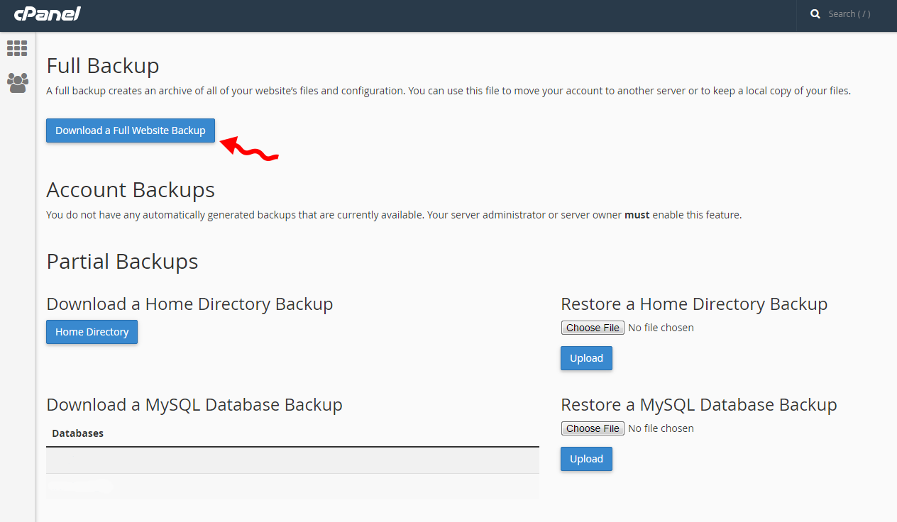 Full backup in cpanel